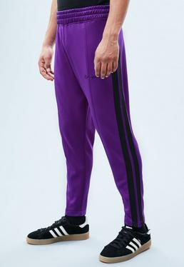 Purple Tricot Cropped Track Bottoms