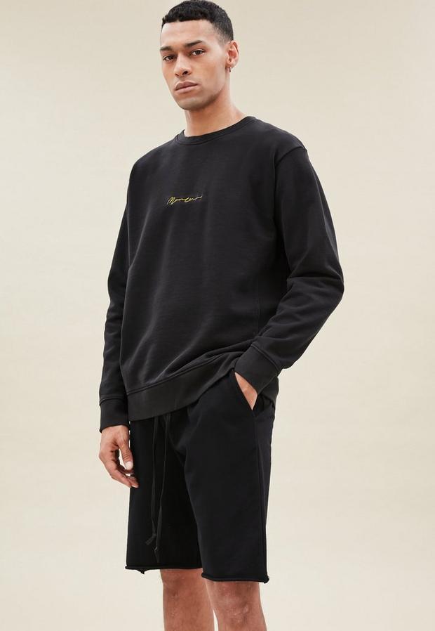 Black Essential Sweatshirt, Men's, Size L, Black
