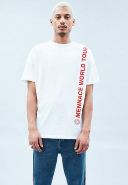 White Drop Shoulder Slogan T-Shirt