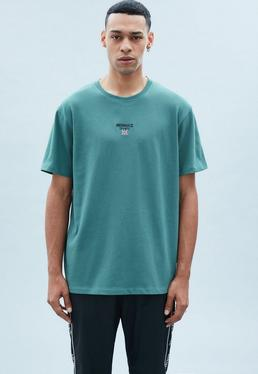 Washed Teal Regular Relaxed Tee with Flag Embroidery