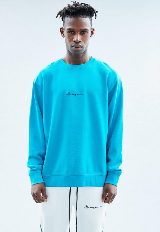 Aqua Blue Basic Sweatshirt, Men's, Size M, Aqua