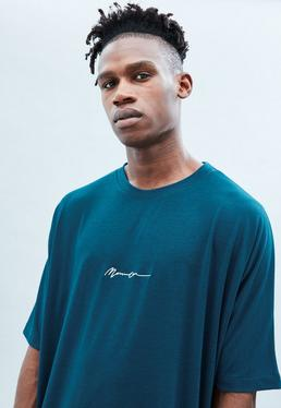 Teal Drop Shoulder Plain Signature T-shirt