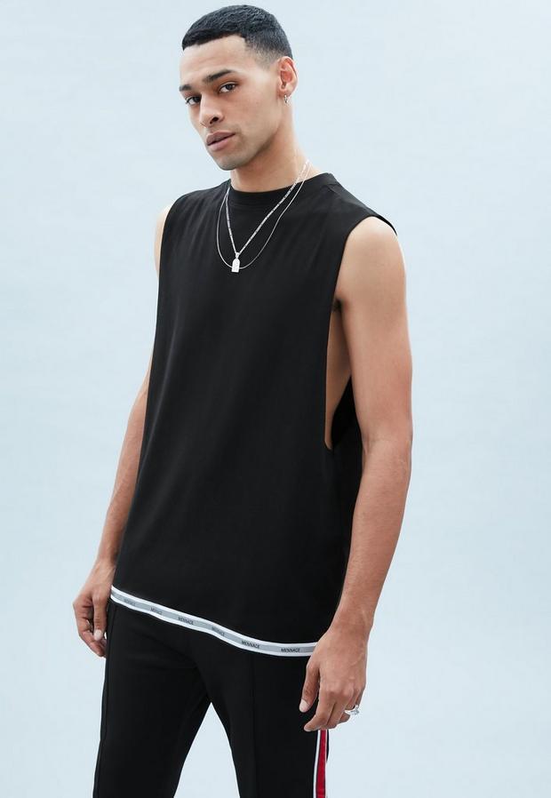 Black Cut Off Vest with Reflective Tape, Men's, Size L, Black