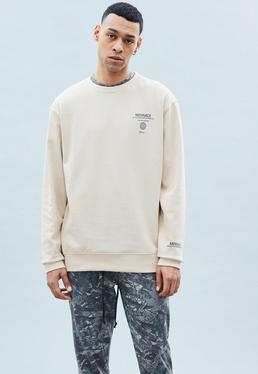 Beige Washed Regular Sweatshirt