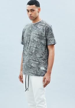 Grey Washed Out Leaf Print Tee
