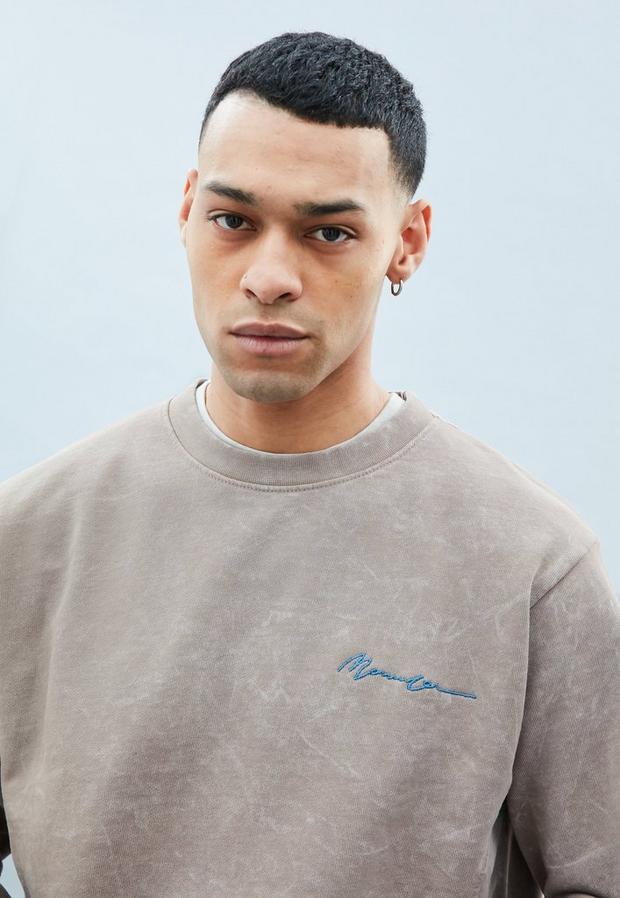 Beige Overdye Basic Sweatshirt, Men's, Size L, Beige