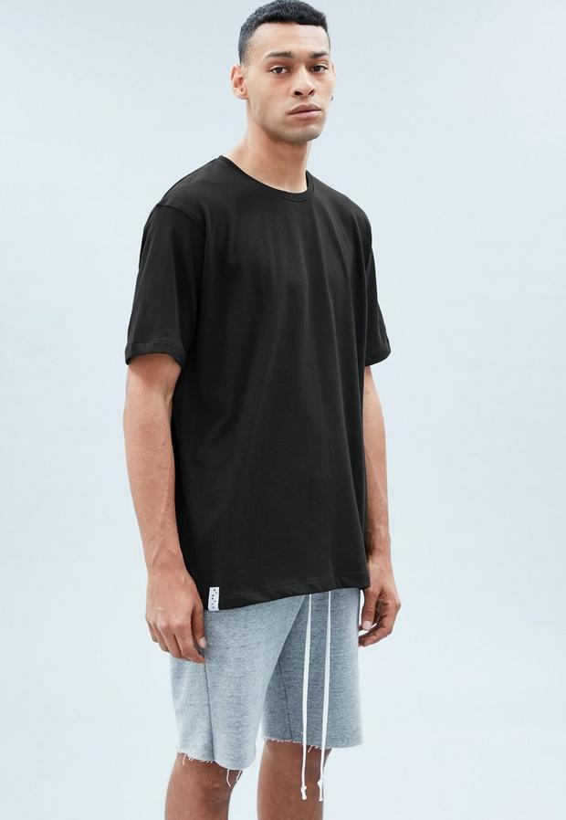 Black Branded Hem Tee, Men's, Size L, Black