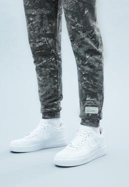 Grey Washed Out Leaf Print Joggers