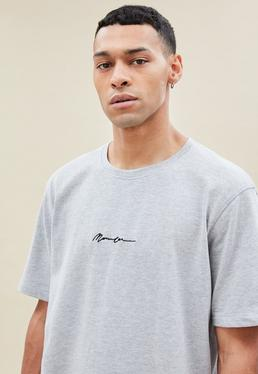 Grey Regular Relaxed Essential Sig Tee