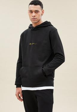 Black Essential Hoodie with Gold Signature