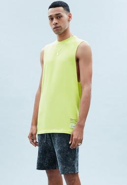 Yellow Washed Out Cut Off Vest