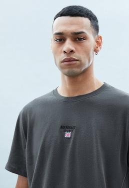 Black Regular Relaxed Tee with Flag Embroidery