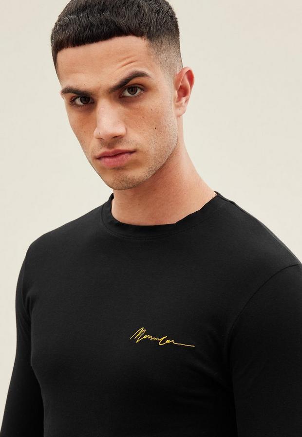 Black Essential Long Sleeve Muscle Fit Tee, Men's, Size L, Black