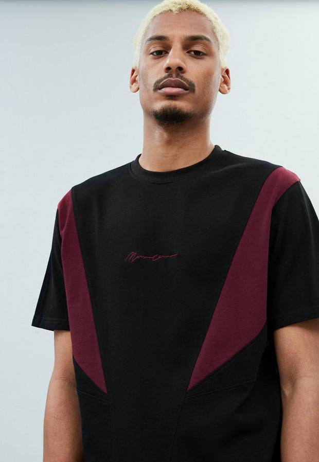 Black Slash Panel Short Sleeve T Shirt, Men's, Size M, Black
