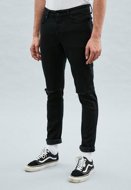 Black Slashed Relaxed Skinny Makavelli Jeans