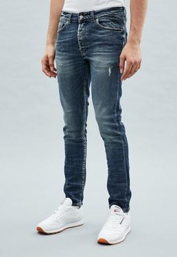 Blue Relaxed Skinny Makavelli Jeans