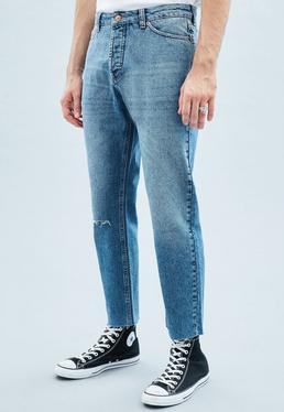 Blue Tapered Crop Ripped Raw Hem Dara Jeans
