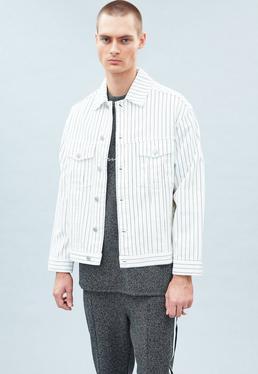 White Stripe Carter Denim Jacket