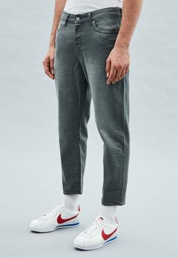 Grey Tapered Cropped Dara Jeans
