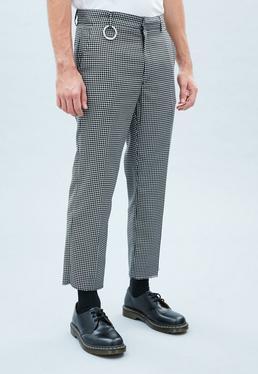Black Gingham Crop Raw Hem Trousers