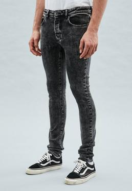 Black Bleach Washed Super-Skinny Cordoza Jeans