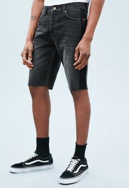 Black Ghosted Side Stripe Curtis Denim Shorts