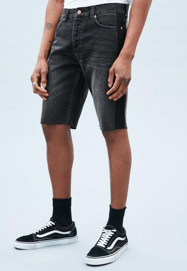 Black Ghosted Side Stripe Curtis Denim Shorts, Men's, Size 28R, Black