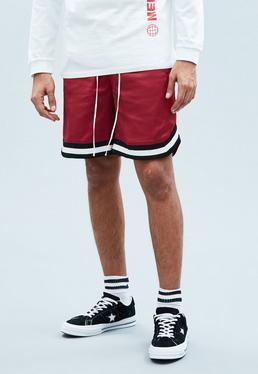Burgundy Sateen Basketball Shorts