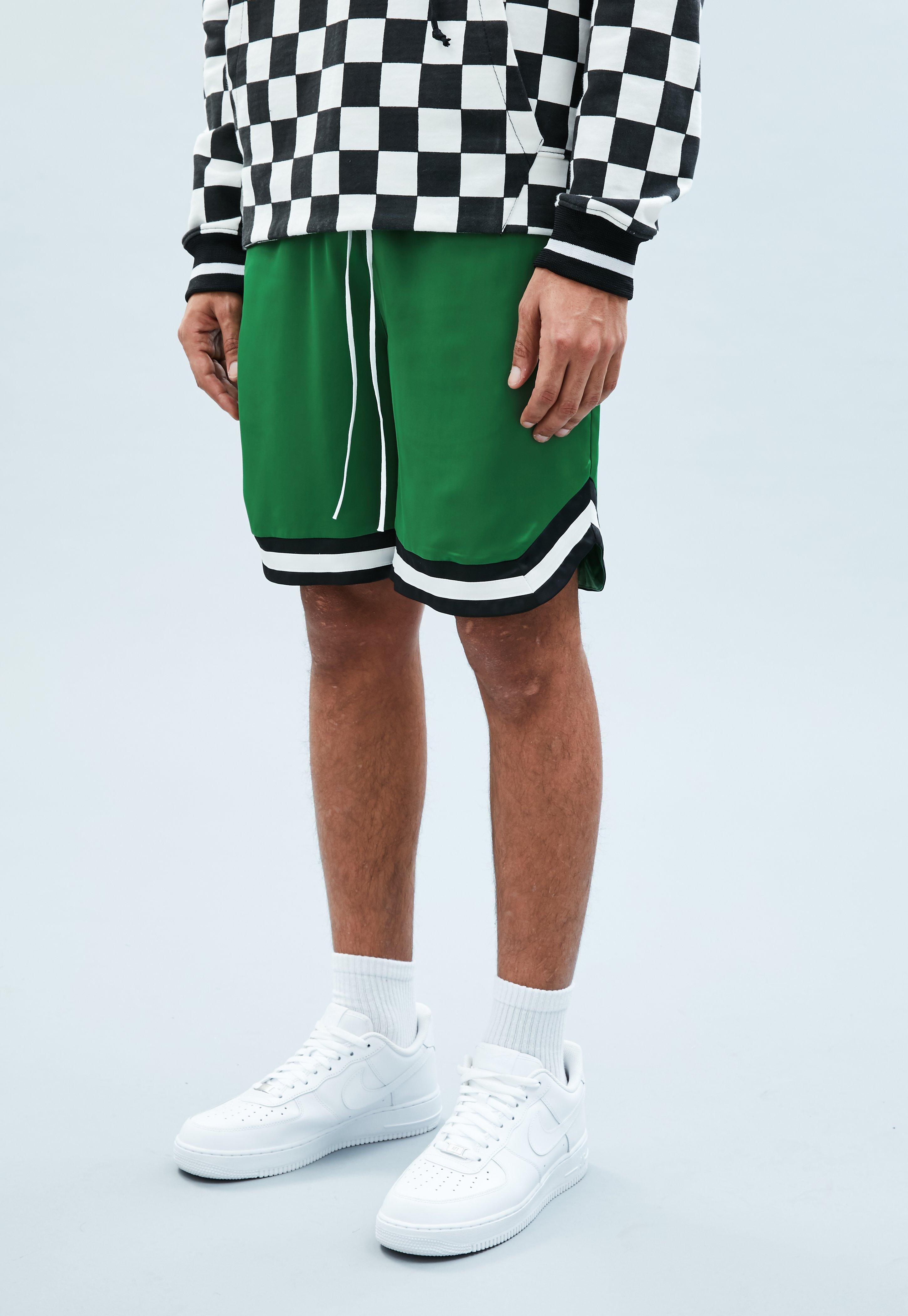 b3a0ec4f7 Green Sateen Basketball Shorts