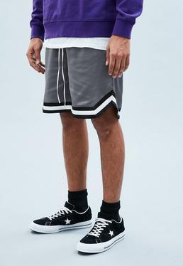 Grey Sateen Basketball Shorts