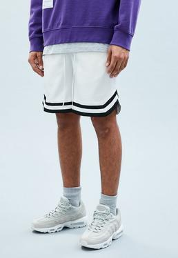 White Sateen Basketball Shorts