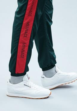 Green Shell Tracksuit Bottoms with Red Panel