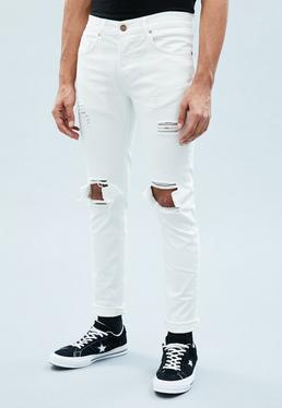 Mennace White Skinny Relaxed Ripped Jeans