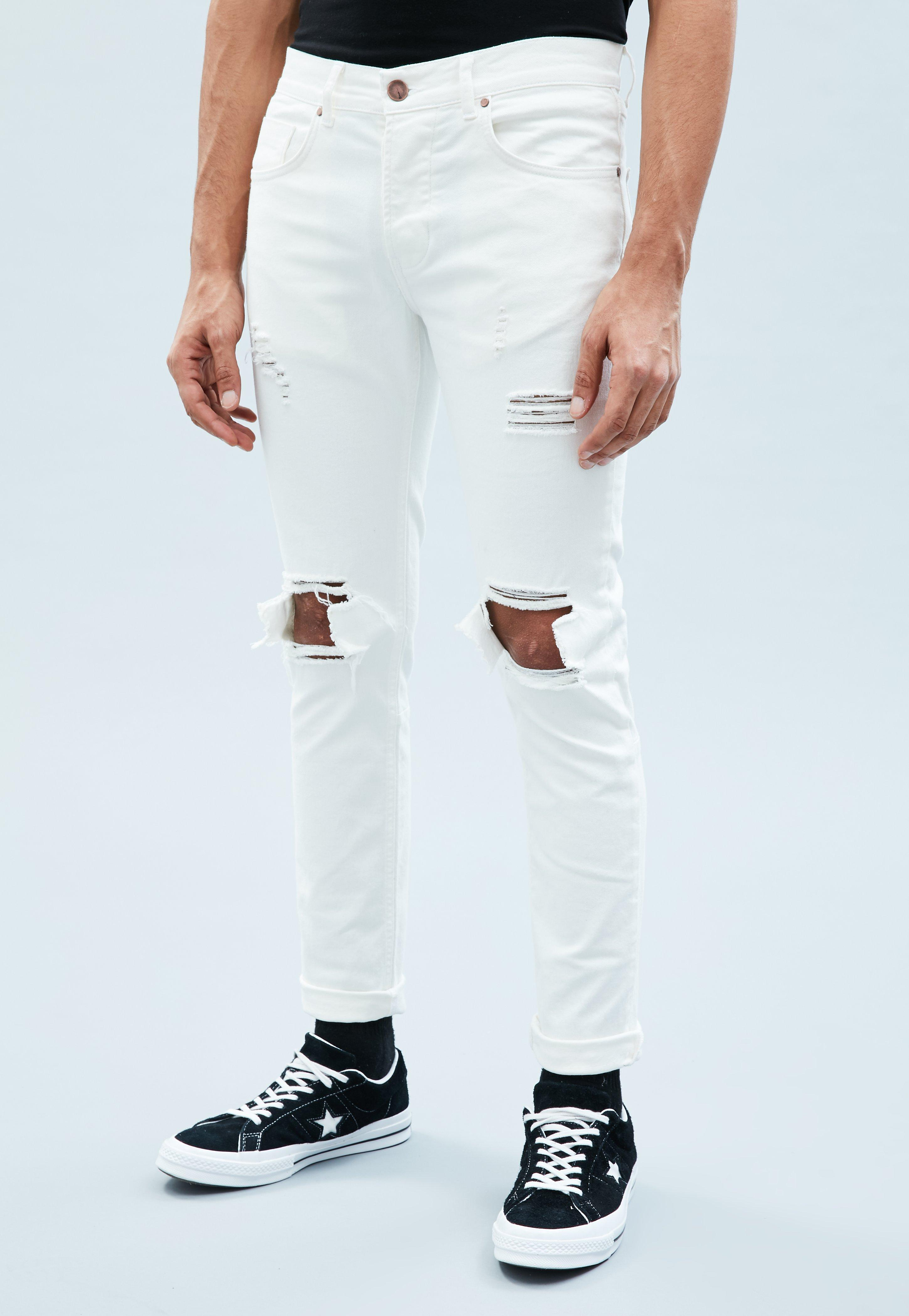 lace up in cheap for sale 60% cheap White Ripped Skinny Jeans