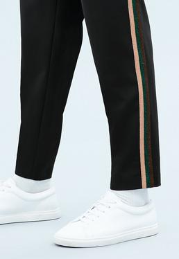 Black Metallic Tape Smart Trousers