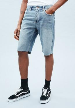 Blue Curtis Vintage Wash Denim Shorts