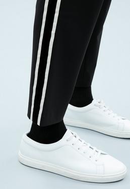 Black Slim Tapered Trouser with Velvet Tape
