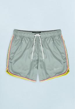 Grey Swim Short with Neon Hem