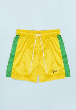 Yellow Swim Shorts with Green Side Panel