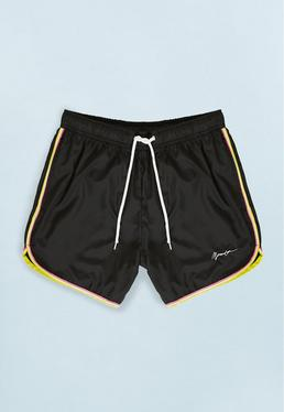 Black Swim Short with Neon Hem