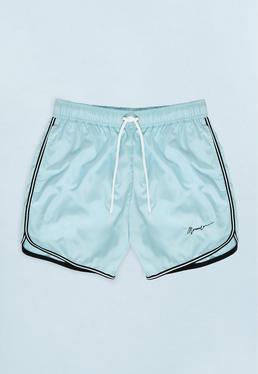 Blue Swim Short with Piped Hem