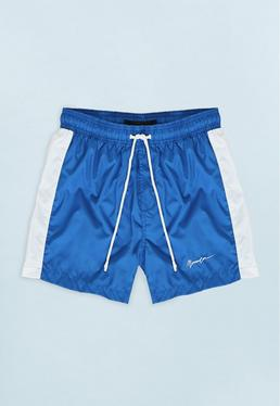 Blue Swim Short with White Side Panel
