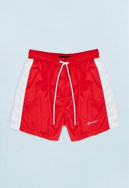 Red Swim Short with White Side Panel