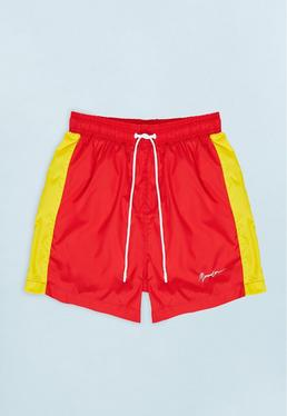 Red Swim Short with Yellow Side Panel