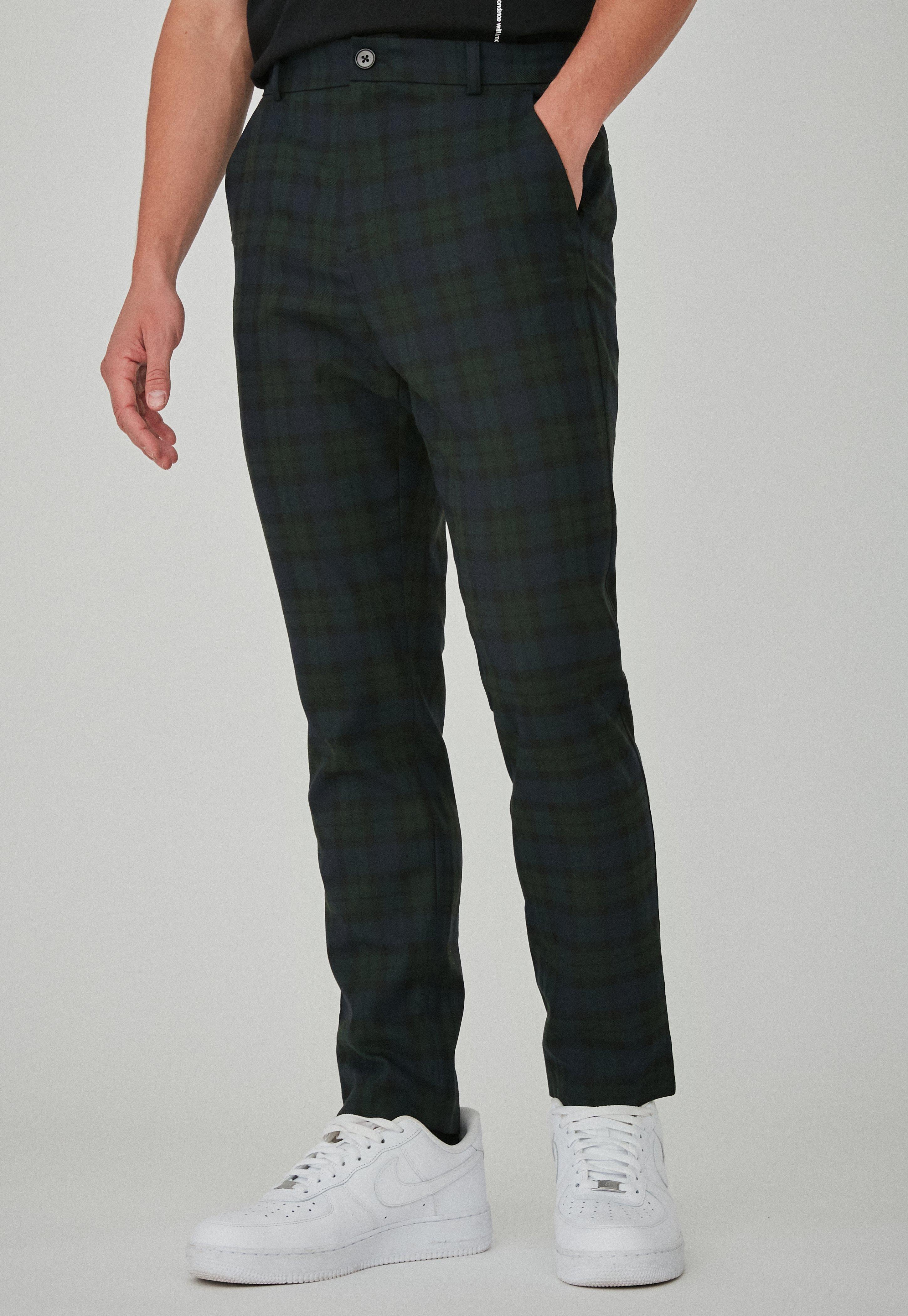 34a9f973b8f Green Slim Tapered Blackwatch Trousers