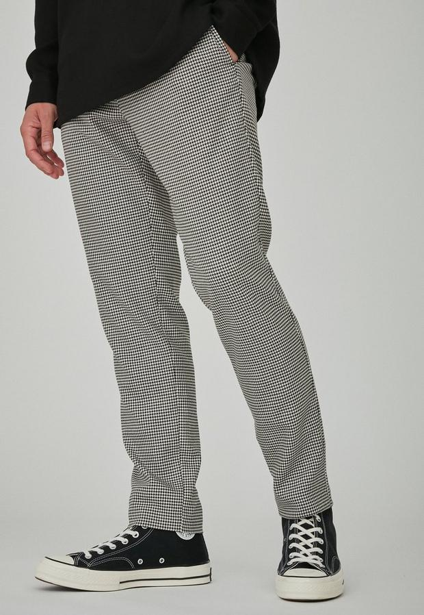 Black Dogstooth Check Slim Tapered Trousers, Men's, Size 30, Black