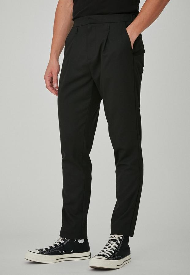 Black Skinny Tapered Pleated Trousers, Men's, Size 30R, Black