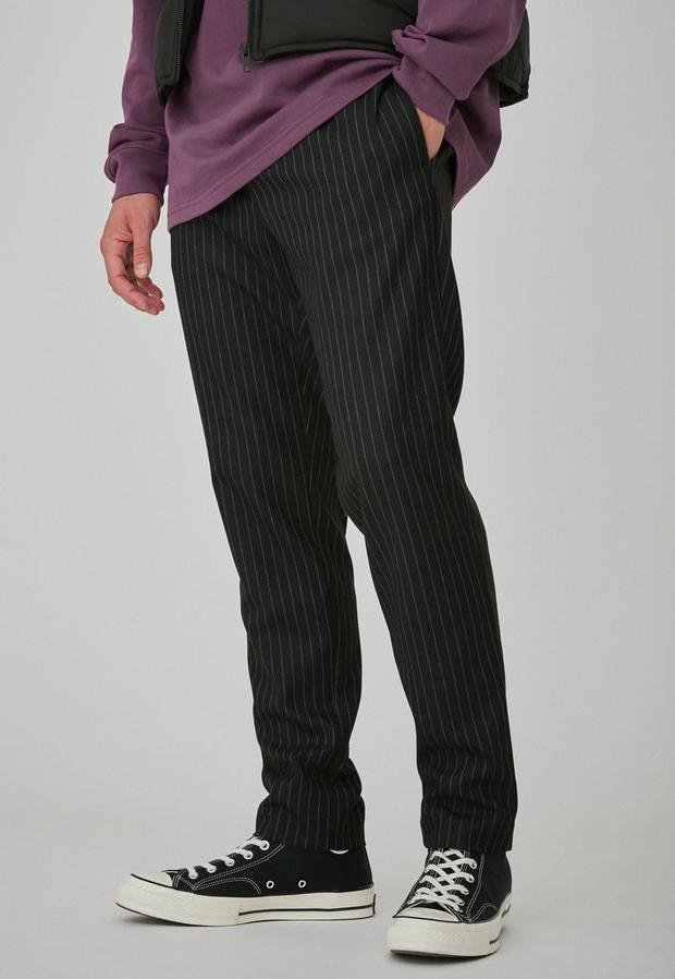 Black Pinstripe Slim Tapered Trousers, Men's, Size 32R, Black