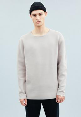 Grey Crisp Yarn Long Sleeved T-Shirt