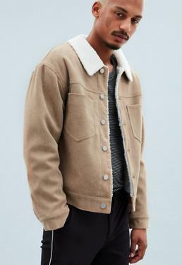 Brown Cord Borg Lined Trucker Jacket